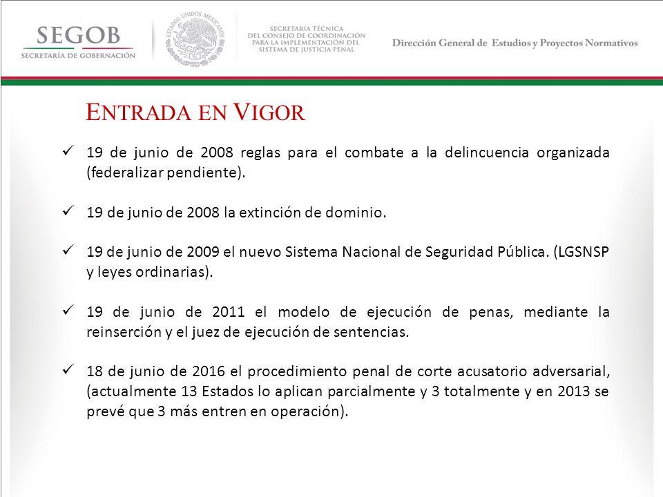 19 de junio de 2008 reglas para el combate a la delincuencia organizada (federalizar pendiente). 19 de junio de 2008 la extinción de dominio. 19 de ju