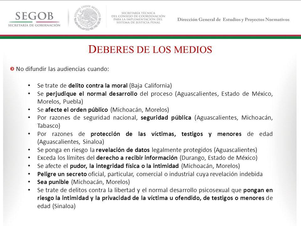Se trate de delito contra la moral (Baja California) Se perjudique el normal desarrollo del proceso (Aguascalientes, Estado de México, Morelos, Puebla