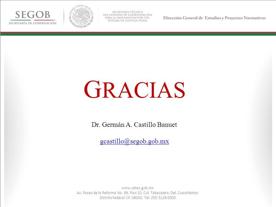 G RACIAS Dr. Germán A. Castillo Banuet gcastillo@segob.gob.mx www.setec.gob.mx Av. Paseo de la Reforma No. 99, Piso 10, Col. Tabacalera, Del. Cuauhtém