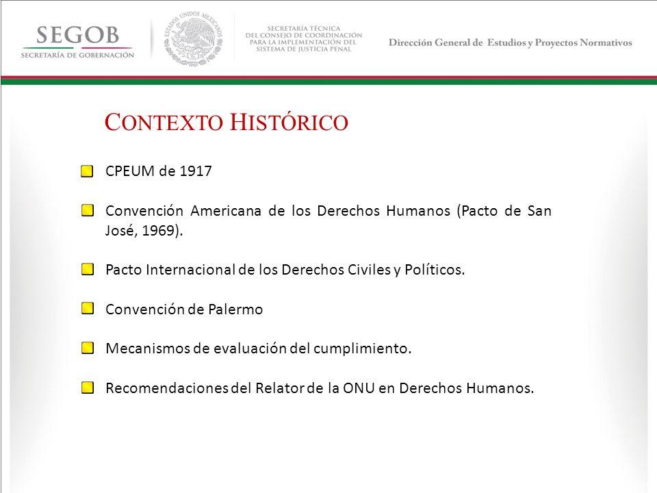C ONTEXTO H ISTÓRICO CPEUM de 1917 Convención Americana de los Derechos Humanos (Pacto de San José, 1969). Pacto Internacional de los Derechos Civiles