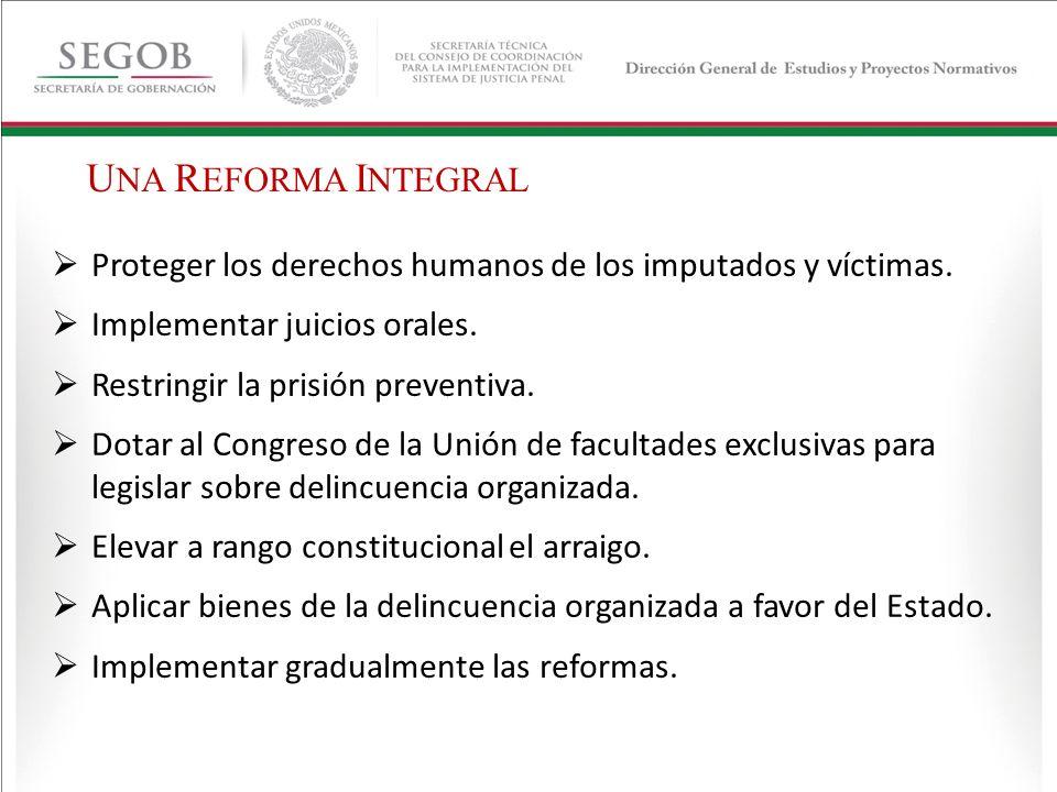 Proteger los derechos humanos de los imputados y víctimas. Implementar juicios orales. Restringir la prisión preventiva. Dotar al Congreso de la Unión