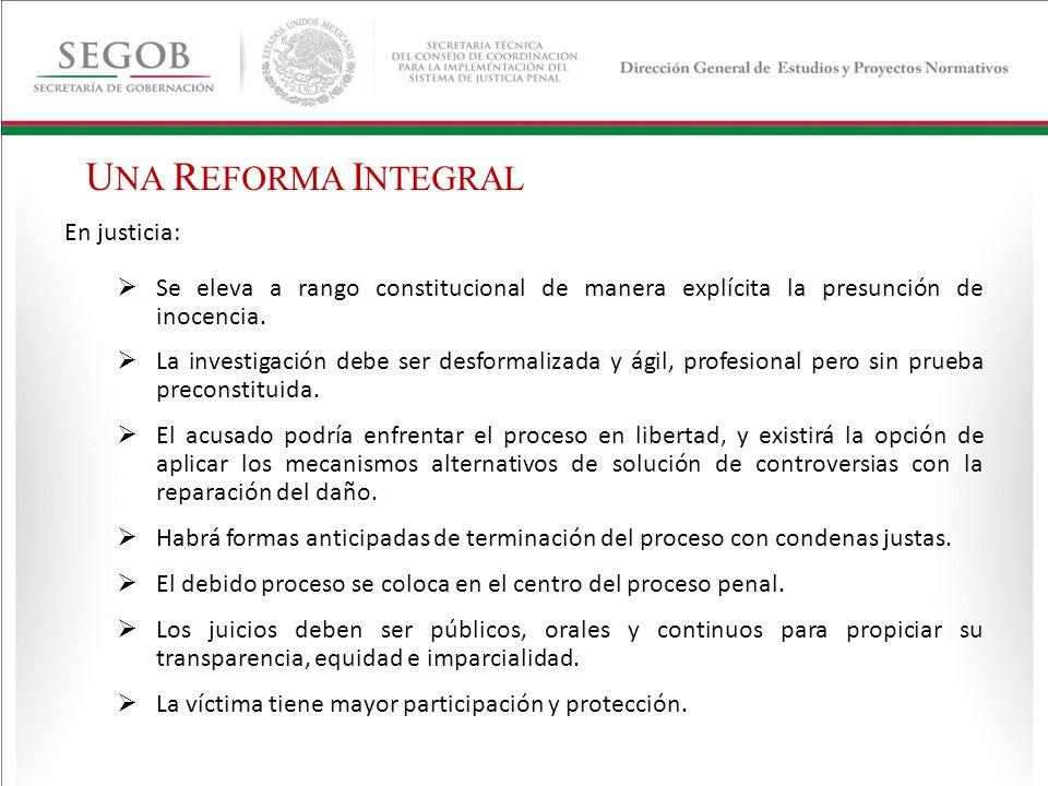 Justicia alternativa y variedad de opciones para solucionar el conflicto con reparación del daño.