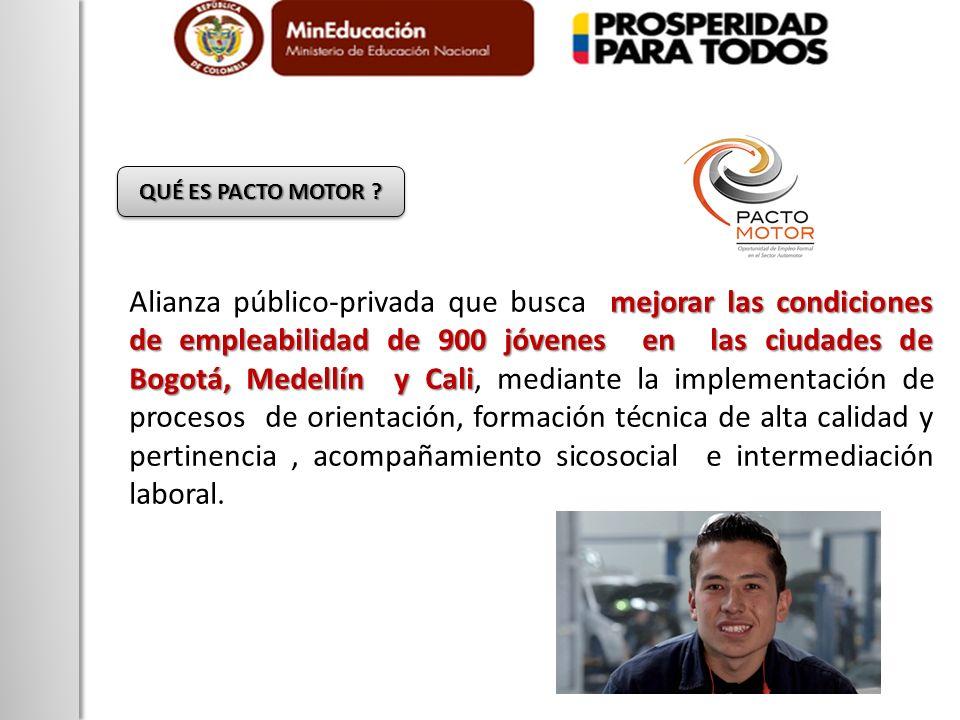 mejorar las condiciones de empleabilidad de 900 jóvenes en las ciudades de Bogotá, Medellín y Cali Alianza público-privada que busca mejorar las condi