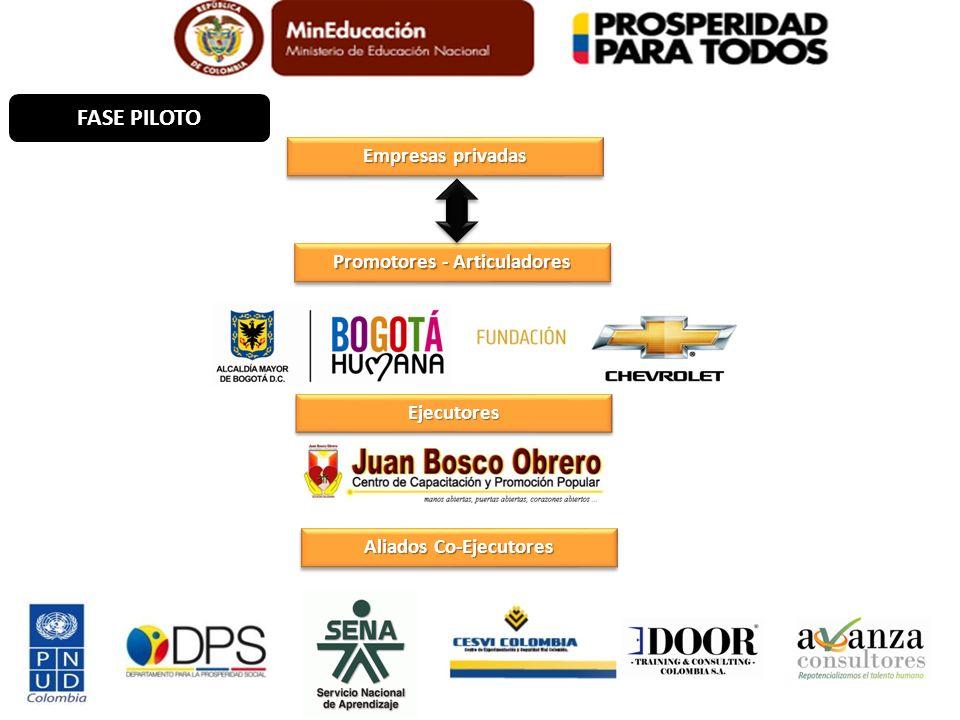 Promotores - Articuladores EjecutoresEjecutores Empresas privadas FASE PILOTO Aliados Co-Ejecutores
