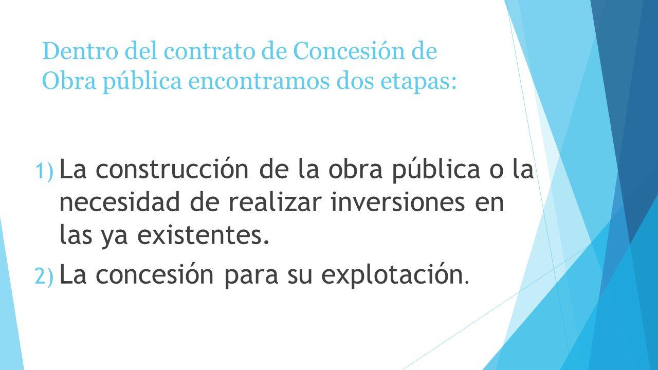 Dentro del contrato de Concesión de Obra pública encontramos dos etapas: 1) La construcción de la obra pública o la necesidad de realizar inversiones en las ya existentes.
