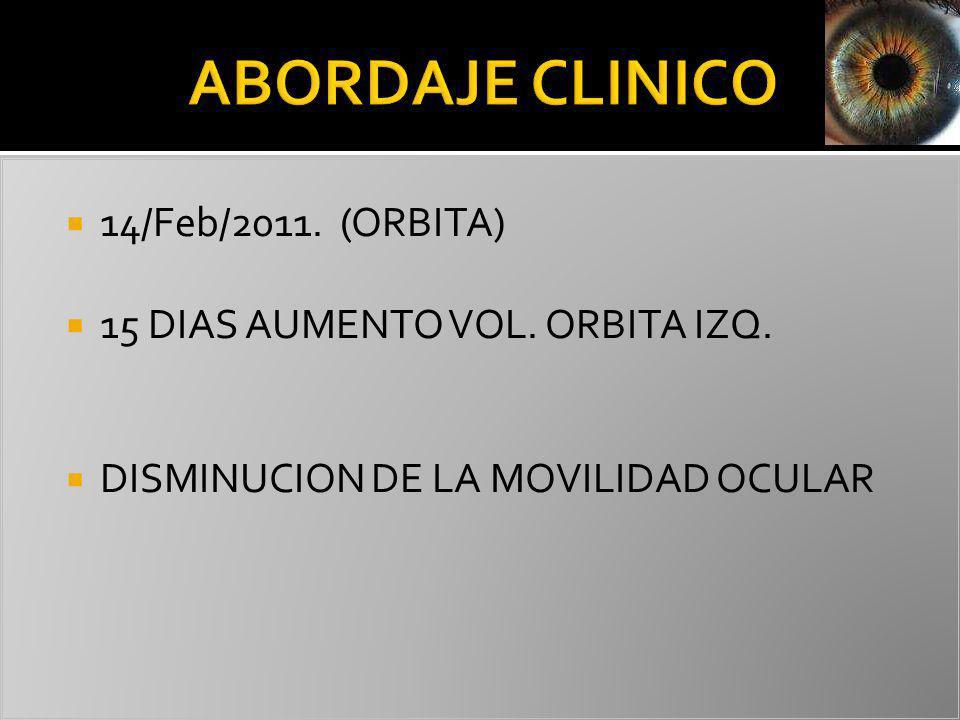 14/Feb/2011. (ORBITA) 15 DIAS AUMENTO VOL. ORBITA IZQ. DISMINUCION DE LA MOVILIDAD OCULAR