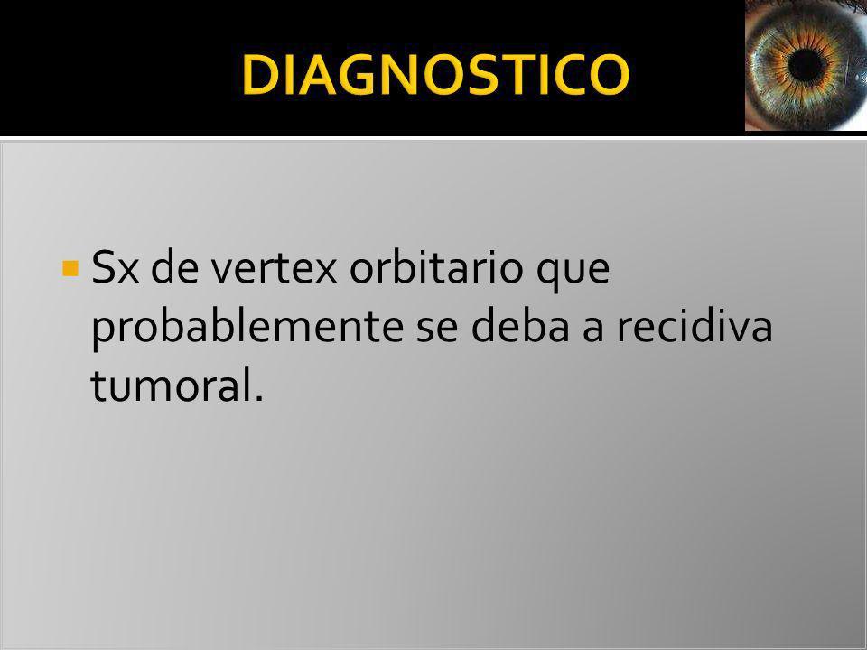 Sx de vertex orbitario que probablemente se deba a recidiva tumoral.