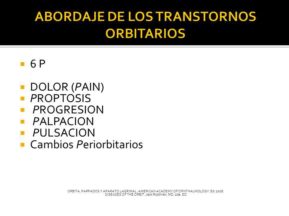 6 P DOLOR (PAIN) PROPTOSIS PROGRESION PALPACION PULSACION Cambios Periorbitarios ORBITA, PARPADOS Y APARATO LAGRIMAL. AMERICAN ACADEMY OF OPHTHALMOLOG