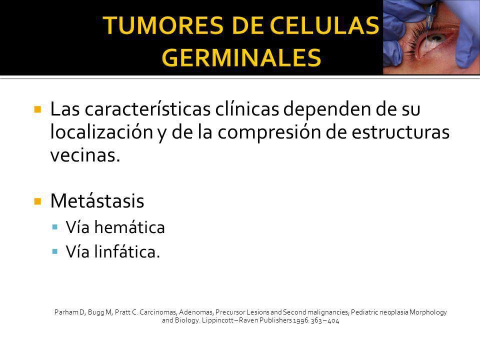 Las características clínicas dependen de su localización y de la compresión de estructuras vecinas. Metástasis Vía hemática Vía linfática. Parham D, B