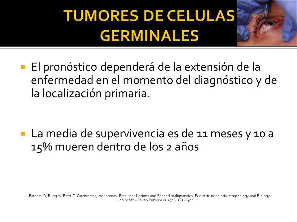 El pronóstico dependerá de la extensión de la enfermedad en el momento del diagnóstico y de la localización primaria. La media de supervivencia es de