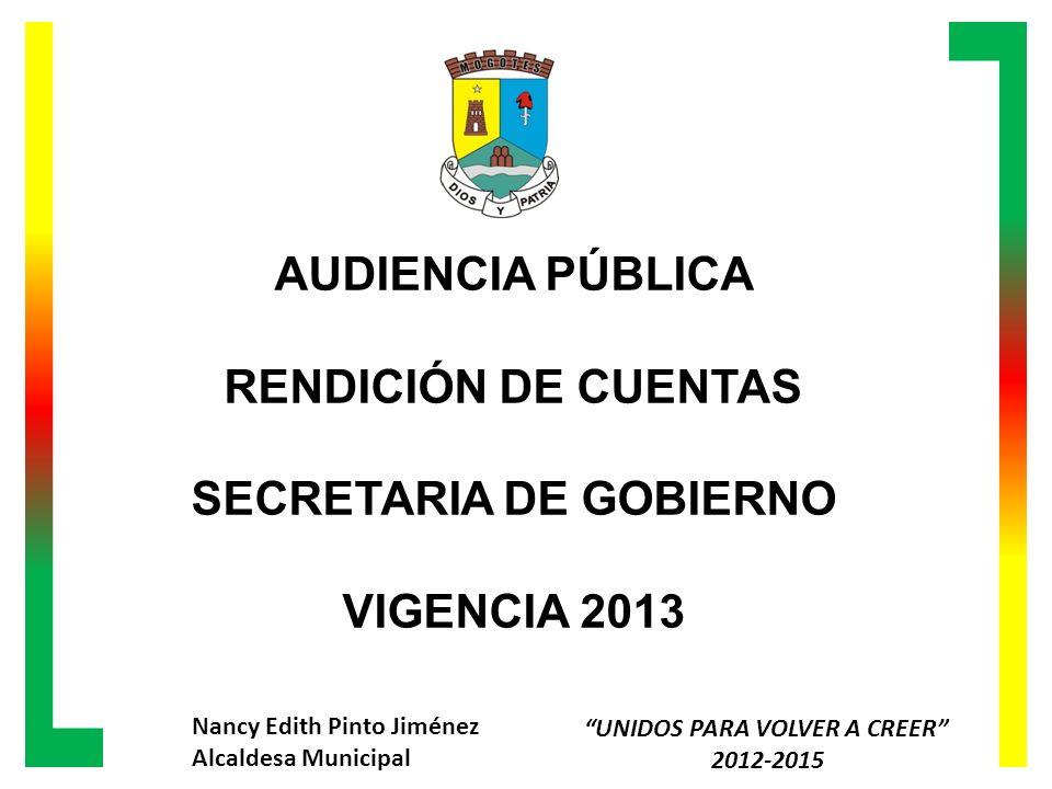 UNIDOS PARA VOLVER A CREER – 2012-2015 Alcaldía Municipal de Mogotes-Santander Nancy Edith Pinto Jiménez Alcaldesa CONTRATACION 2013 MESESCANTIDAD ENERO9 FEBRERO15 MARZO12 ABRIL7 MAYO6 JUNIO3 TOTAL52 Audiencia Publica Rendición de Cuentas 2013