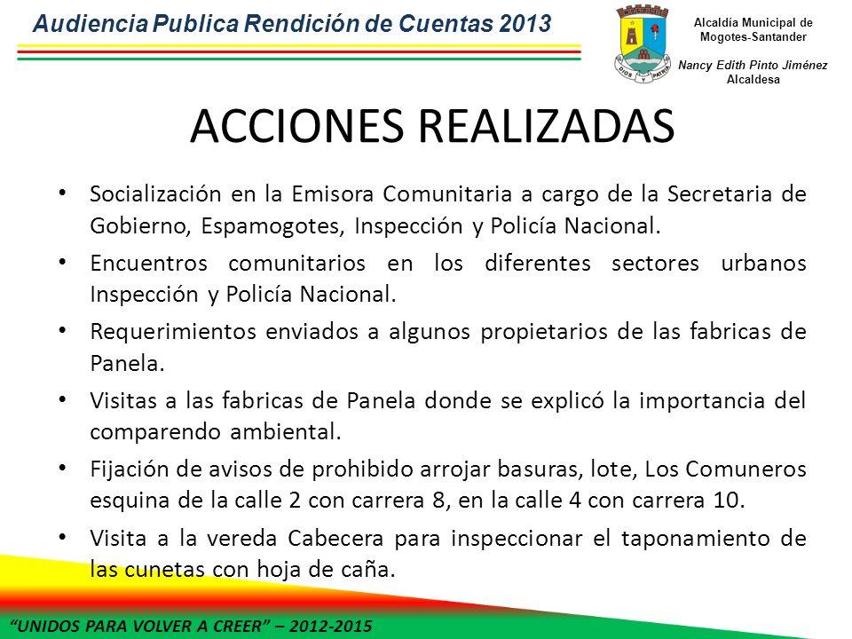 UNIDOS PARA VOLVER A CREER – 2012-2015 Alcaldía Municipal de Mogotes-Santander Nancy Edith Pinto Jiménez Alcaldesa ACCIONES REALIZADAS Socialización e