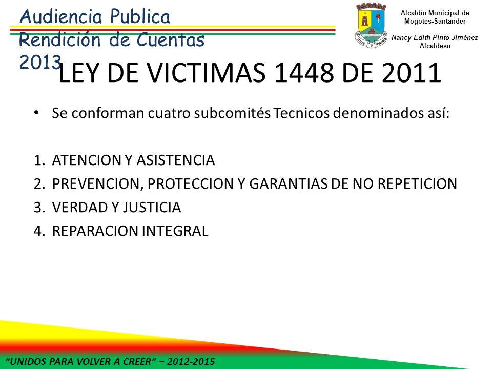 UNIDOS PARA VOLVER A CREER – 2012-2015 Alcaldía Municipal de Mogotes-Santander Nancy Edith Pinto Jiménez Alcaldesa LEY DE VICTIMAS 1448 DE 2011 En el año 2012 se presenta el PAT (PLAN DE ACCION TERRITORIAL PARA LA ATENCION MUNICIPAL DE VICTIMAS DEL MUNICIPIO DE MOGOTES), Destacándose dentro de los mejores en cuanto su formulación.
