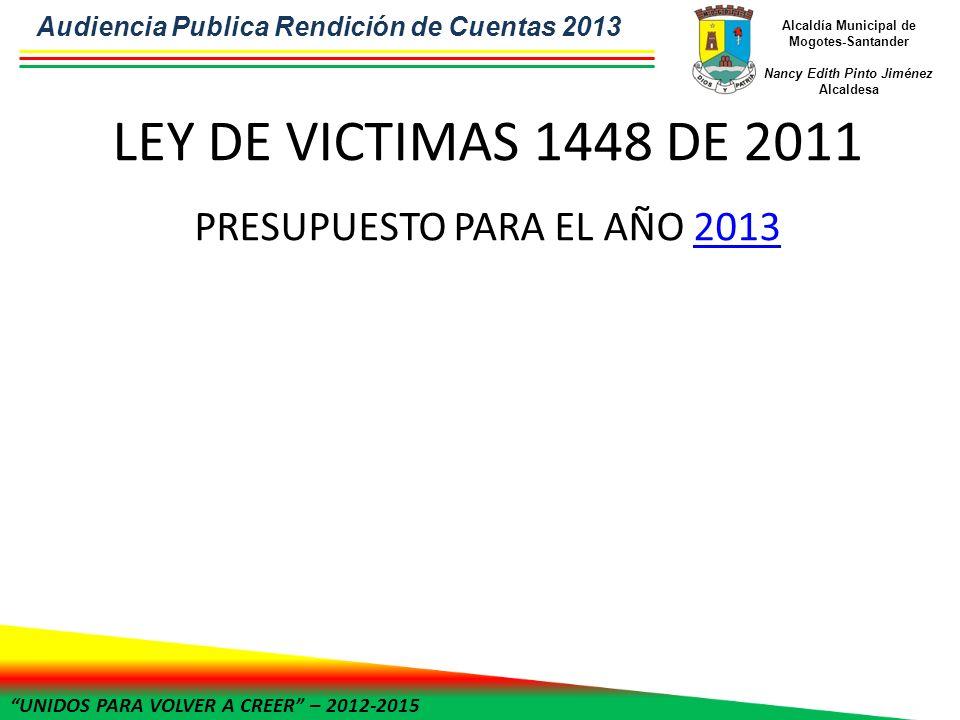 UNIDOS PARA VOLVER A CREER – 2012-2015 Alcaldía Municipal de Mogotes-Santander Nancy Edith Pinto Jiménez Alcaldesa LEY DE VICTIMAS 1448 DE 2011 PRESUP