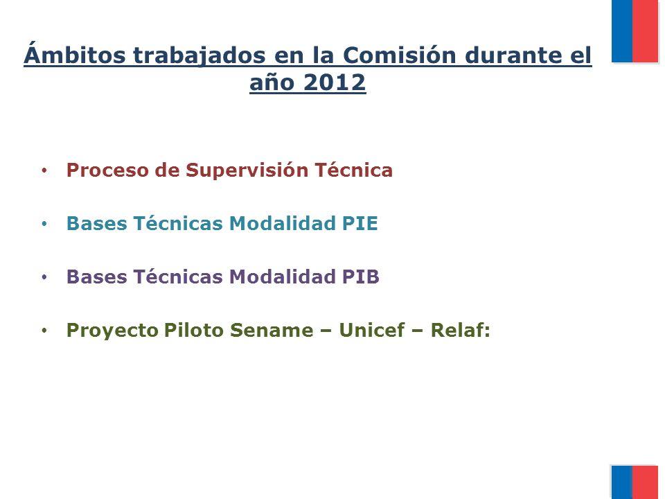 Ámbitos trabajados en la Comisión durante el año 2012 Proceso de Supervisión Técnica Bases Técnicas Modalidad PIE Bases Técnicas Modalidad PIB Proyecto Piloto Sename – Unicef – Relaf: