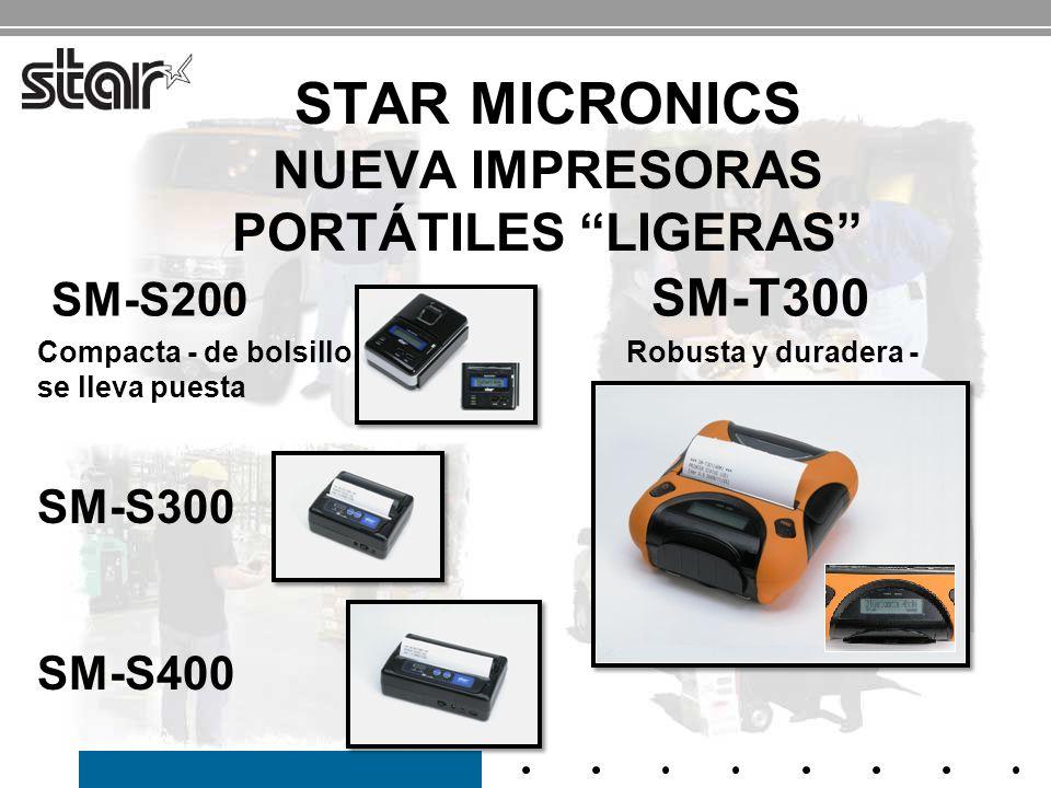 CARACTERÍSTICAS Y BENEFICIOS DE LA SM-S200 Las impresoras portátiles más pequeñas y compactas de la industria 3.17 x 4.47 x 1.81 (80.5 x 113.5 x 46 mm) Duración de la batería de 6 horas* - dentro del tiempo que dura un turno de trabajo de una comida Conexiones serial y Bluetooth 2.1 – Serial para ajustes de impresora y ajustes de configuración Serial para anfitrión e impresora en posicionamiento adyacente Bluetooth para comunicación inalámbrica y manos libres Cifrado de seguridad modo 3 y autenticación unidireccional Carga fácil del papel / papel de barra de corte Diseño Clamshell Relleno del papel sin esfuerzo en segundos Lector de banda magnética Integridad de la tarjeta de crédito del cliente para procesamiento de las tarjetas de crédito junto a la mesa del cliente 1 a y 2 a azul claroVisor LCD azul claro Muestra el nivel de potencia de la batería, mensajes de error, confirmación de conexión con el anfitrión Uso en entornos poco iluminados (lounges, cafés, etc.) Sensor de cubierta abierta Modo de ahorro de energía Programa de reciclado de baterías gratis Pesa menos de 1 lb.