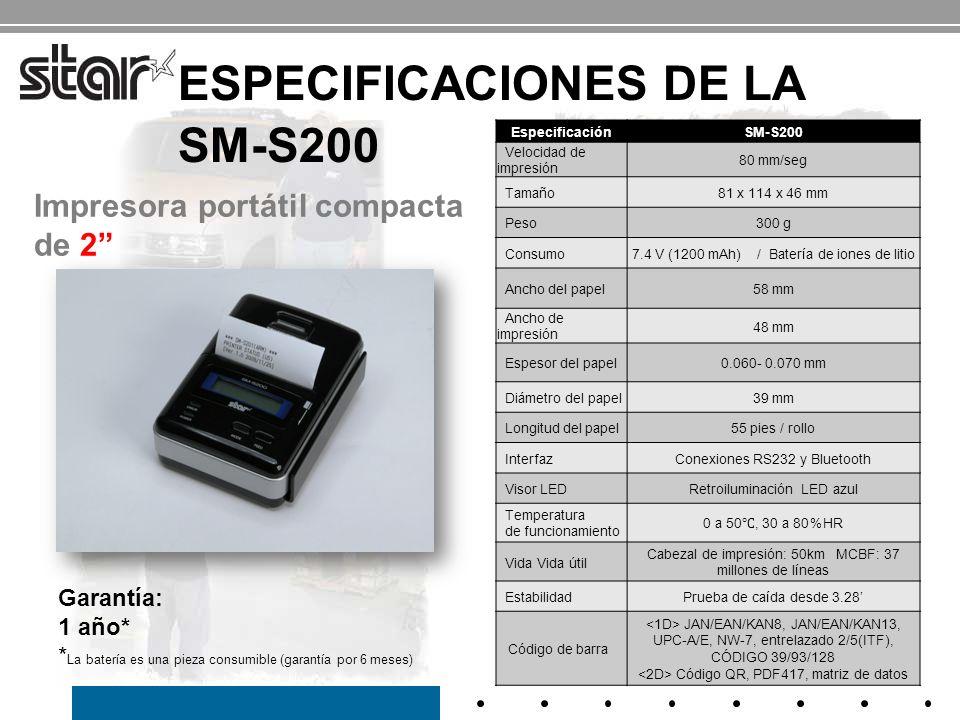 ACCESORIOS DE LA SM-S200 Funda de cuero opcional (con clip) Rollo de papel de muestra Cargador de batería CA Cable serial Paquete de batería Contenido de la caja Accesorios opcionales