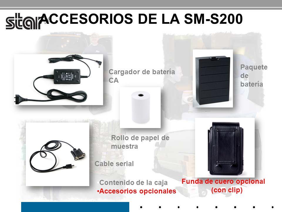 Tamaño pequeño y compacto SM-S300 4.22 x 3.48 x 1.77 (107.4 x 88.5 x 45 mm) SM-S400 5.44 x 3.48 x 1.80 (138.4 x 88.5 x 45.7mm) Duración de la batería de 8 horas* - dentro del tiempo que dura un turno de trabajo de una comida Conexiones serial y Bluetooth 2.1 – Serial para ajustes de impresora y ajustes de configuración Serial para anfitrión e impresora en posicionamiento adyacente Bluetooth para comunicación inalámbrica y manos libres Cifrado de seguridad modo 3 y autenticación unidireccional Carga fácil del papel / cortador de papel de barra de corte Diseño Clamshell Relleno del papel sin esfuerzo en segundos Lector de banda magnética Integridad de la tarjeta de crédito del cliente para procesamiento de las tarjetas de crédito junto a la mesa del cliente 1 a y 2 a Botones iluminados de error / Indicador de potencia de batería Modo de ahorro de energía Programa de reciclado de baterías gratis Impresora portátil de 3 SM-S300 Impresora portátil de 4 SM-S400 Características y beneficios SM-S300 SM-S400 MSR