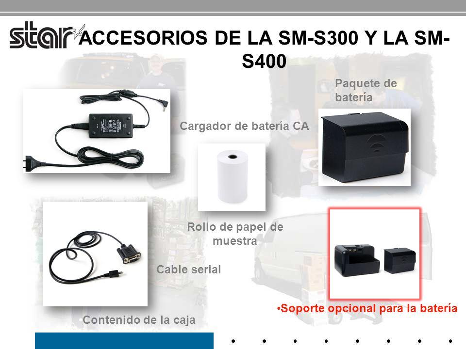 CARACTERÍSTICAS Y BENEFICIOS DE LA SM-T300 Caja construida de manera robusta y duradera Protegida del polvo, a prueba de salpicaduras (IP54) Aumenta la confiabilidad y la vida útil de la impresora Duración extendida de la batería de 8 horas* Conexiones serial / Bluetooth 2.1 Serial para ajustes de impresora y ajustes de configuración Serial para anfitrión e impresora en posicionamiento adyacente Bluetooth para comunicación inalámbrica y manos libres Cifrado de seguridad modo 3 y autenticación unidireccional Lector de banda magnética 1 a y 2 a Visor LCD Muestra el nivel de potencia de la batería, mensajes de error, conexión con el anfitrión Uso en áreas poco iluminadas Sensor de cubierta abierta Carga fácil del papel / cortador de papel de barra de corte ¡Colocar el papel, cargar e imprimir.