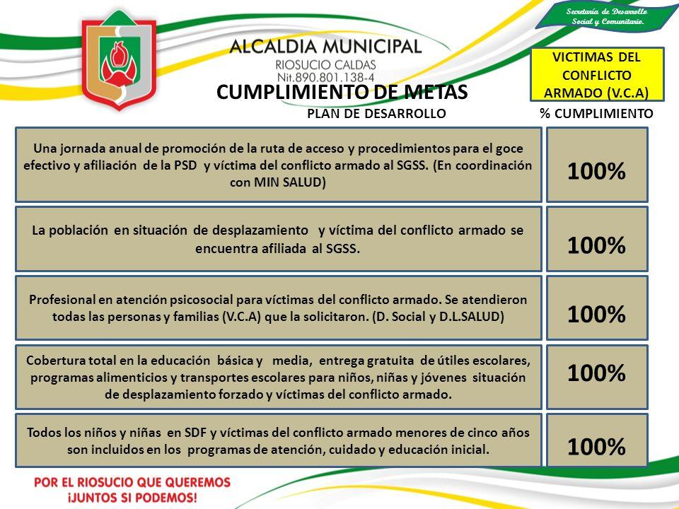 100% Una jornada anual de promoción de la ruta de acceso y procedimientos para el goce efectivo y afiliación de la PSD y víctima del conflicto armado