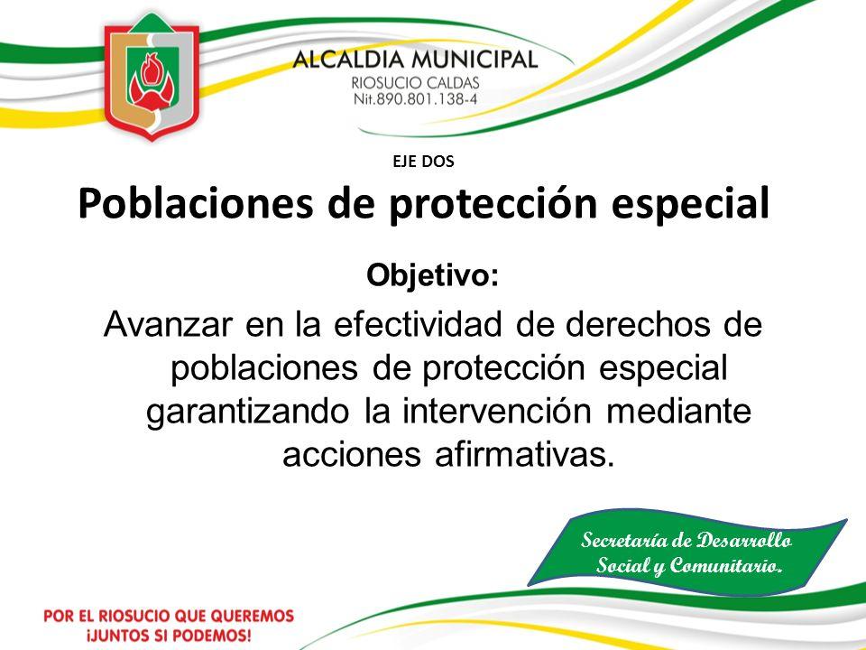 EJE DOS Poblaciones de protección especial Objetivo: Avanzar en la efectividad de derechos de poblaciones de protección especial garantizando la inter