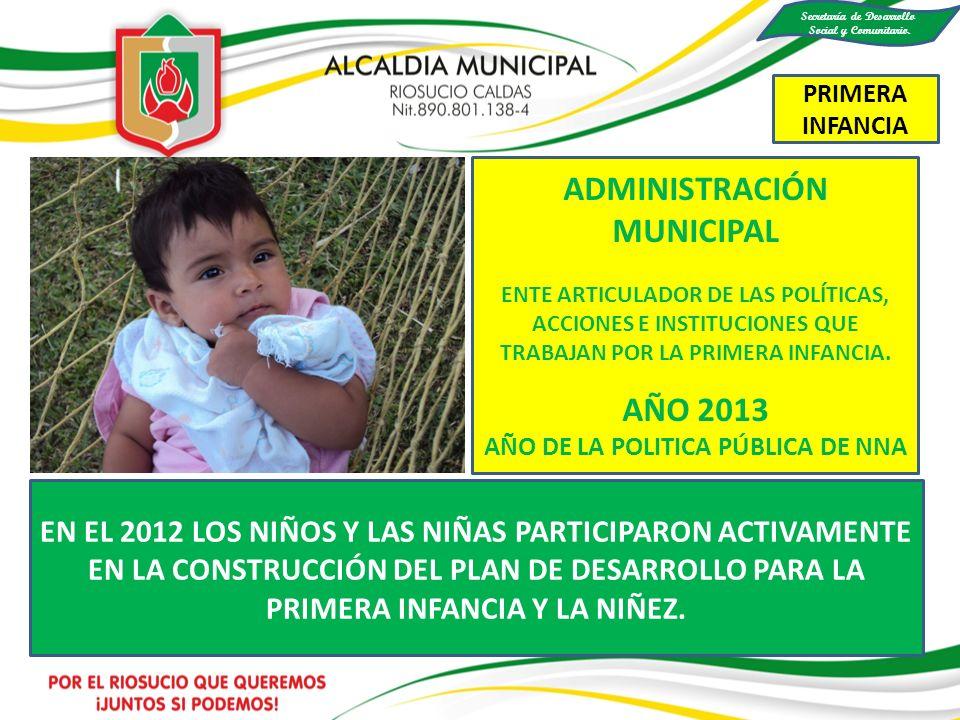 EN EL 2012 LOS NIÑOS Y LAS NIÑAS PARTICIPARON ACTIVAMENTE EN LA CONSTRUCCIÓN DEL PLAN DE DESARROLLO PARA LA PRIMERA INFANCIA Y LA NIÑEZ. ADMINISTRACIÓ