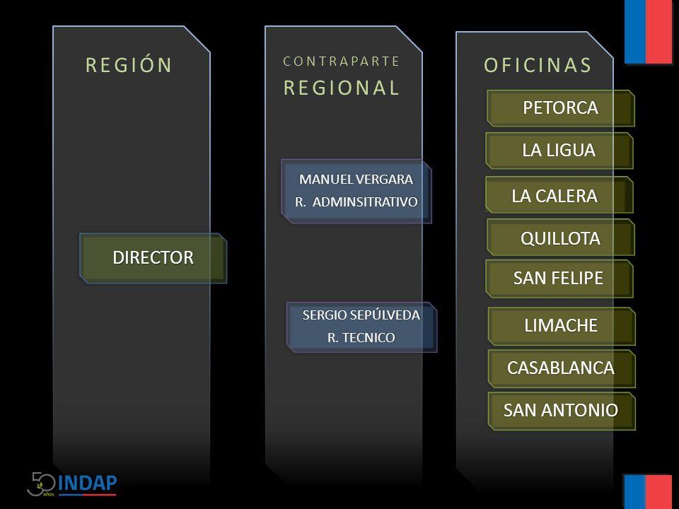 3 REGIÓN DIRECTOR MANUEL VERGARA R. ADMINSITRATIVO PETORCA LA LIGUA LA CALERA QUILLOTA SERGIO SEPÚLVEDA R. TECNICO SAN FELIPE LIMACHE CASABLANCA SAN A