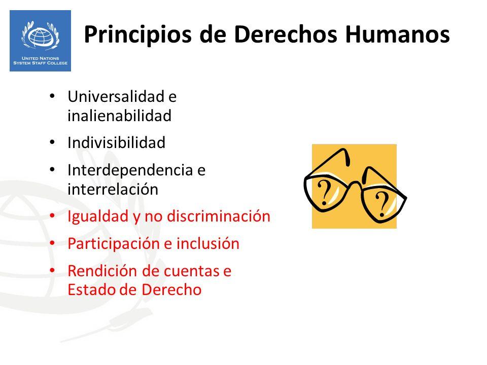 Principios de Derechos Humanos Universalidad e inalienabilidad Indivisibilidad Interdependencia e interrelación Igualdad y no discriminación Participa