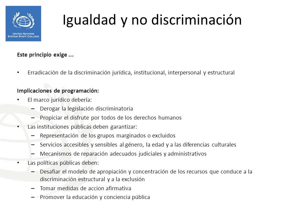 Igualdad y no discriminación Este principio exige... Erradicación de la discriminación jurídica, institucional, interpersonal y estructural Implicacio