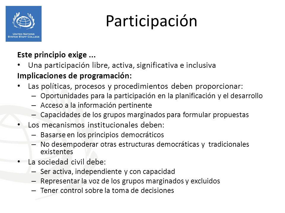 Participación Este principio exige... Una participación libre, activa, significativa e inclusiva Implicaciones de programación: Las políticas, proceso