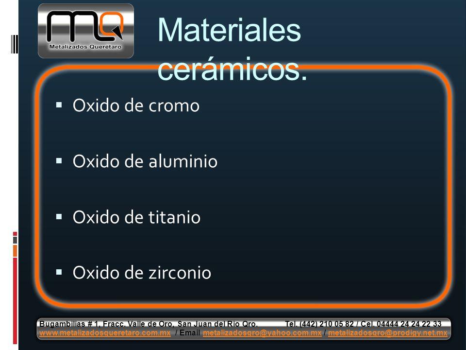 Oxido de cromo Oxido de aluminio Oxido de titanio Oxido de zirconio Materiales cerámicos.