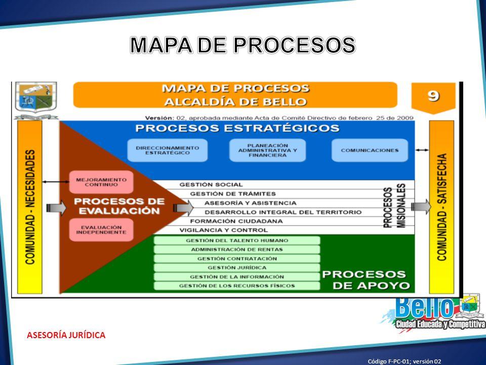Código F-PC-01; versión 02 ASESORÍA JURÍDICA DR. CARLOS MARIO PALACIO VELÁSQUEZ