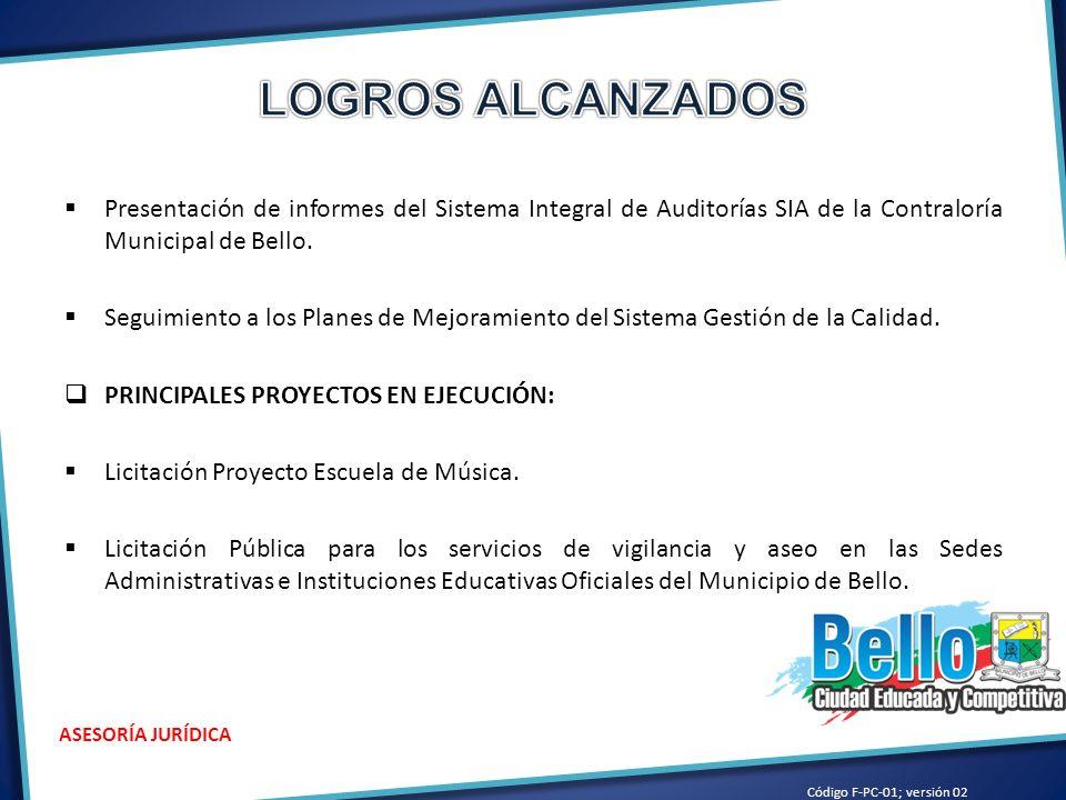 Presentación de informes del Sistema Integral de Auditorías SIA de la Contraloría Municipal de Bello.