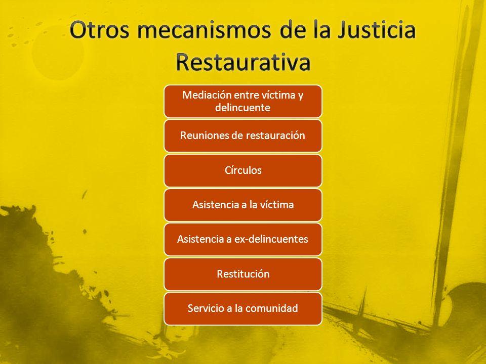 Mediación entre víctima y delincuente Reuniones de restauraciónCírculosAsistencia a la víctimaAsistencia a ex-delincuentesRestituciónServicio a la com