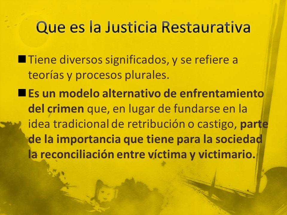 Justicia Penal Crimen es una violación del la ley y el Estado Violación crea culpabilidad Justicia solo determina la culpabilidad e impone la pena La Justicia la determina el Estado Se enfoca en que los ofensores reciban el castigo establecido.