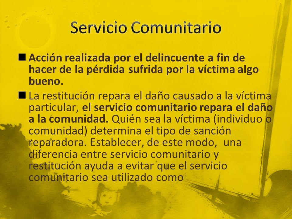 Acción realizada por el delincuente a fin de hacer de la pérdida sufrida por la víctima algo bueno. La restitución repara el daño causado a la víctima