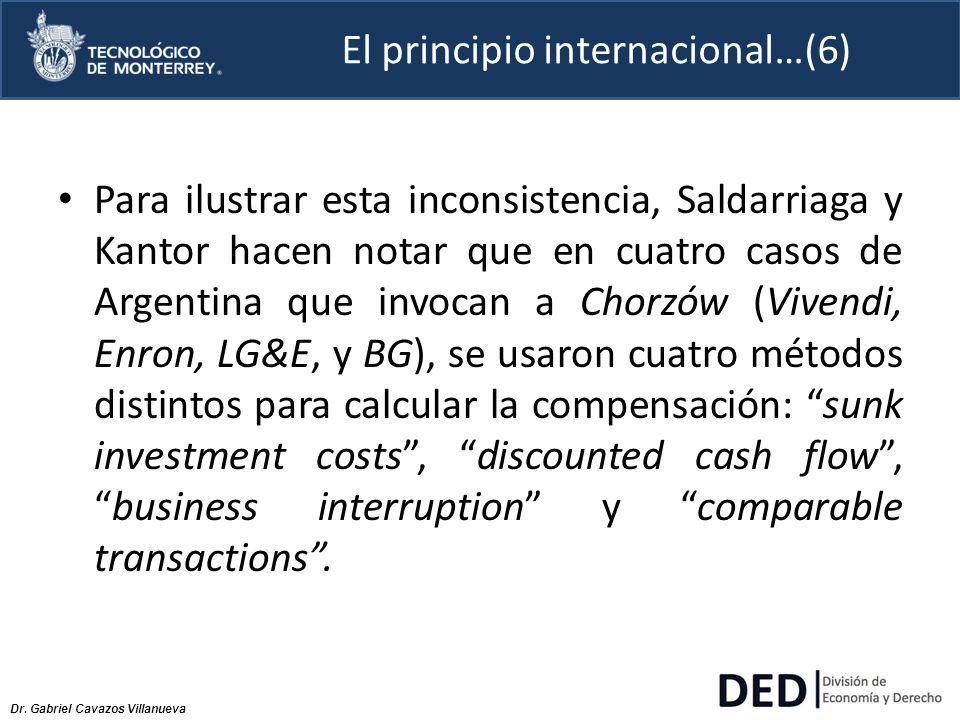 Dr. Gabriel Cavazos Villanueva El principio internacional…(6) Para ilustrar esta inconsistencia, Saldarriaga y Kantor hacen notar que en cuatro casos