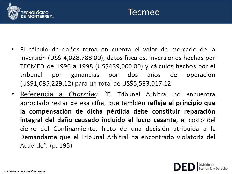 Dr. Gabriel Cavazos Villanueva Tecmed El cálculo de daños toma en cuenta el valor de mercado de la inversión (US$ 4,028,788.00), datos fiscales, inver