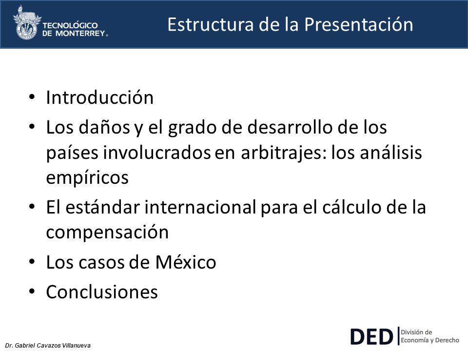 Dr. Gabriel Cavazos Villanueva Estructura de la Presentación Introducción Los daños y el grado de desarrollo de los países involucrados en arbitrajes:
