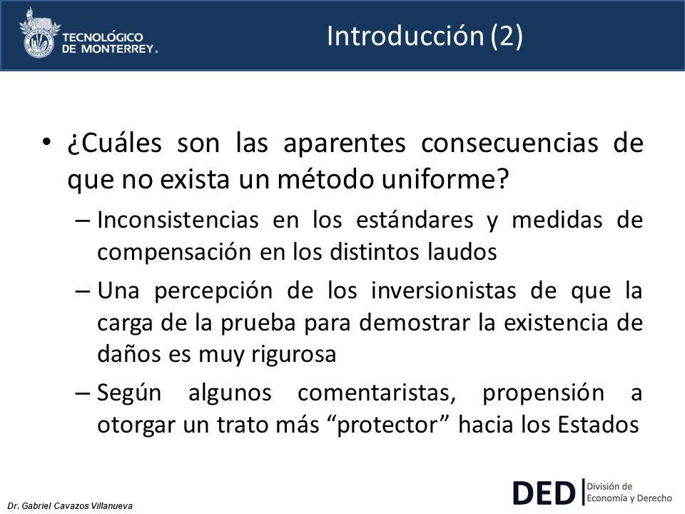 Dr. Gabriel Cavazos Villanueva Introducción (2) ¿Cuáles son las aparentes consecuencias de que no exista un método uniforme? – Inconsistencias en los