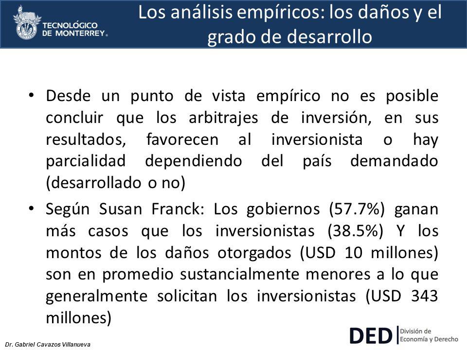 Dr. Gabriel Cavazos Villanueva Los análisis empíricos: los daños y el grado de desarrollo Desde un punto de vista empírico no es posible concluir que