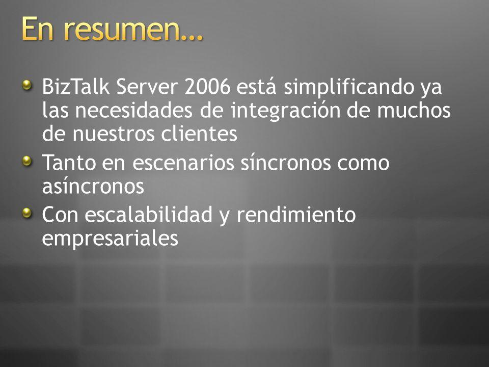 BizTalk Server 2006 está simplificando ya las necesidades de integración de muchos de nuestros clientes Tanto en escenarios síncronos como asíncronos