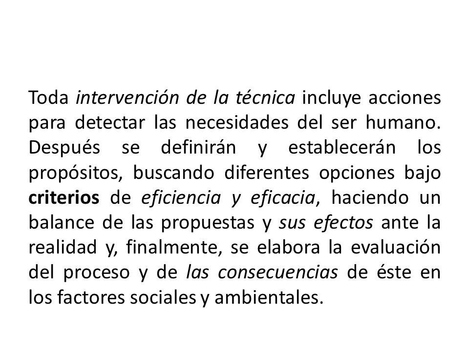 Toda intervención de la técnica incluye acciones para detectar las necesidades del ser humano. Después se definirán y establecerán los propósitos, bus