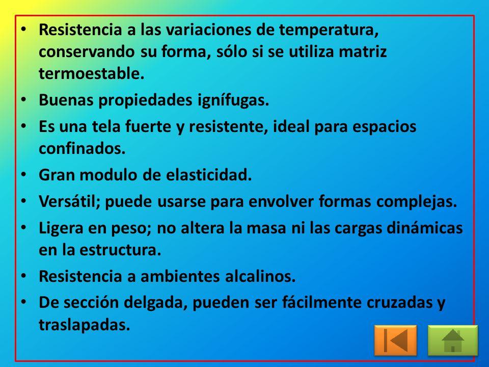 Resistencia a las variaciones de temperatura, conservando su forma, sólo si se utiliza matriz termoestable.