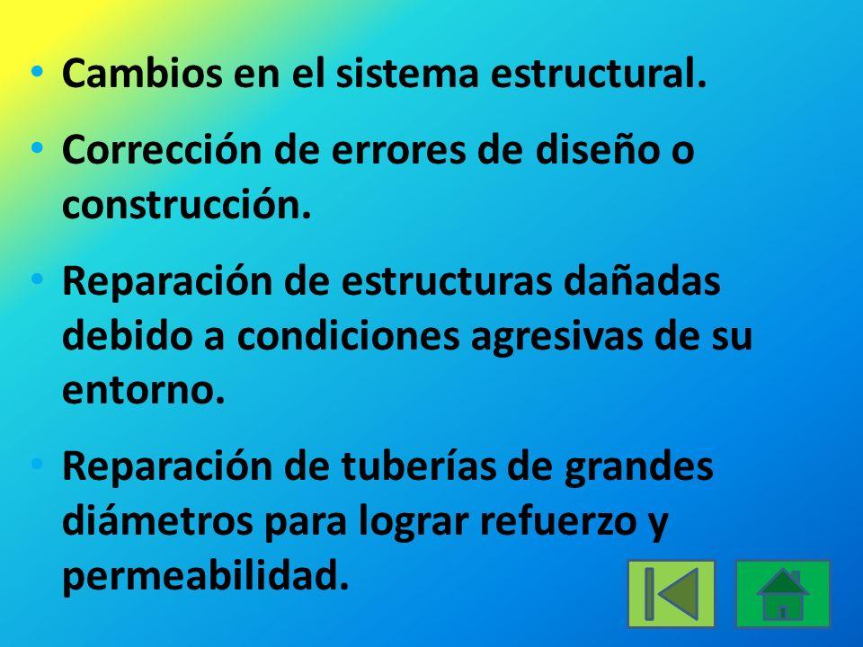 Cambios en el sistema estructural.Corrección de errores de diseño o construcción.