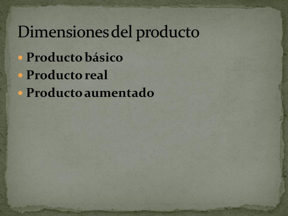 Producto básico Producto real Producto aumentado