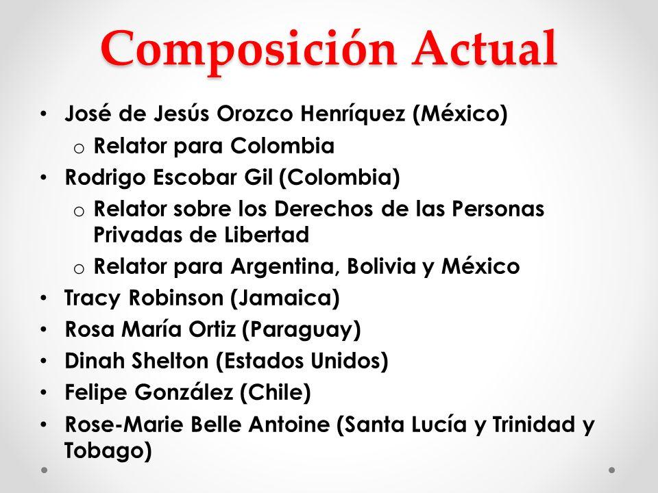 Composición Actual José de Jesús Orozco Henríquez (México) o Relator para Colombia Rodrigo Escobar Gil (Colombia) o Relator sobre los Derechos de las