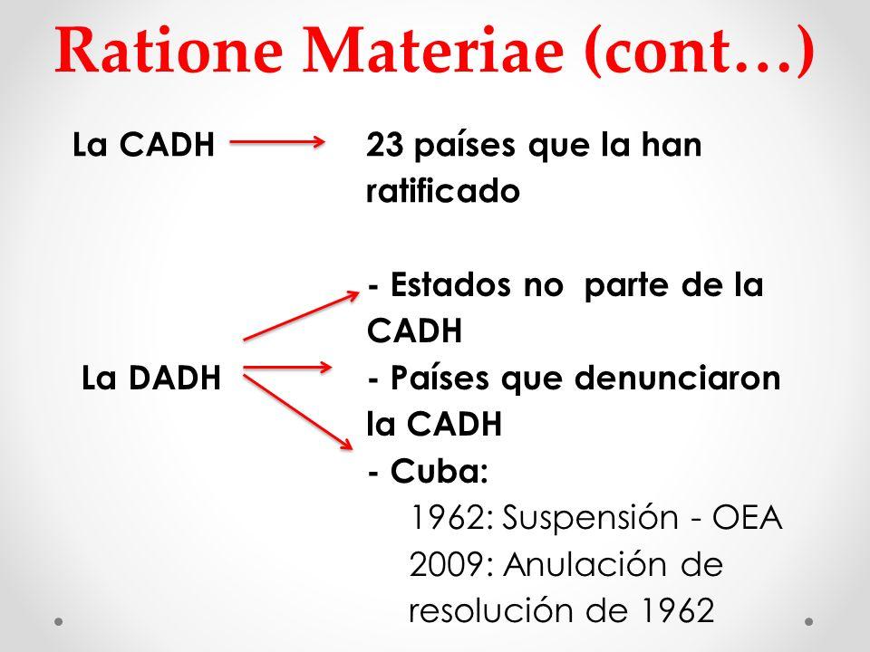 Ratione Materiae (cont…) La CADH 23 países que la han ratificado - Estados no parte de la CADH La DADH - Países que denunciaron la CADH - Cuba: 1962: