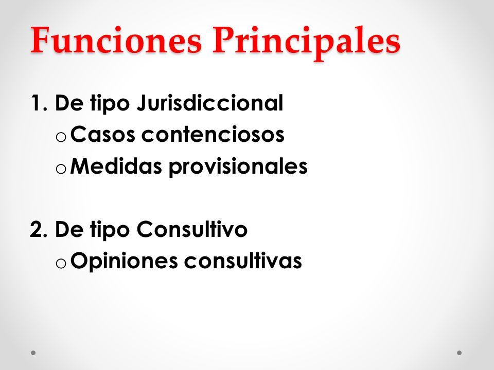 Funciones Principales 1. De tipo Jurisdiccional o Casos contenciosos o Medidas provisionales 2. De tipo Consultivo o Opiniones consultivas