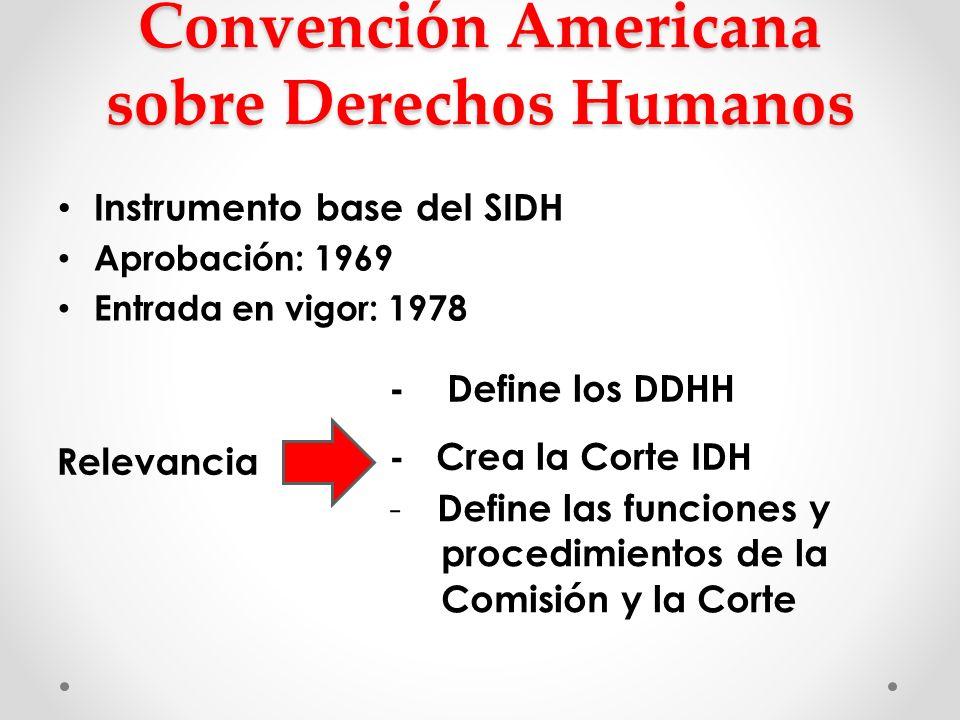 Convención Americana sobre Derechos Humanos Instrumento base del SIDH Aprobación: 1969 Entrada en vigor: 1978 - Define los DDHH Relevancia - Crea la C
